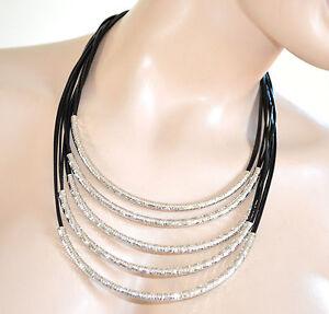 COLLANA-donna-NERA-ARGENTO-diamantata-girocollo-multifilo-collarino-collier-710