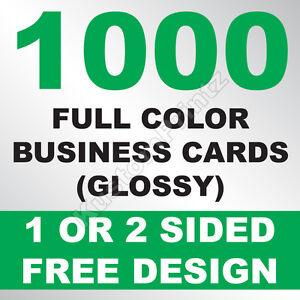 1000 CUSTOM FULL COLOR BUSINESS CARDS | 16PT | GLOSSY UV FINISH | FREE DESIGN