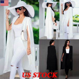 Fashion-Womens-Long-Cloak-Cape-Blazer-Suit-Jacket-Coat-Trench-Poncho-Outwear-USA