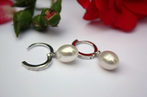 YR123 echte Süßwasser Zucht Perlen Schmuck Ohrringe Ohrhänger Creolen 925 Silber