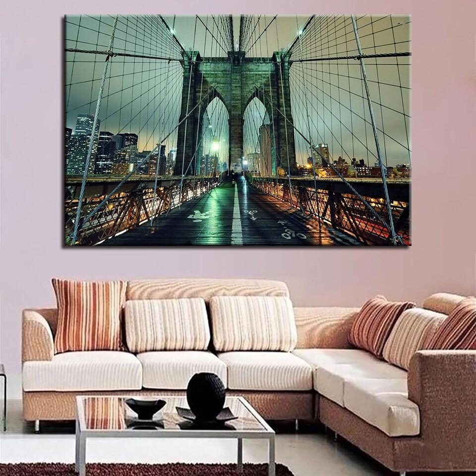 Brooklyn Bridge New York At Dusk 1 Panel Canvas Print Wall Art