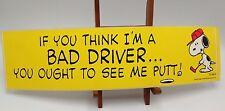 Snoopy Golf Bumper Sticker Bad Driver Putt vintage Yellow