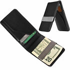 Mens Leather Silver Money Clip Slim Wallets Black ID Credit Card Holder