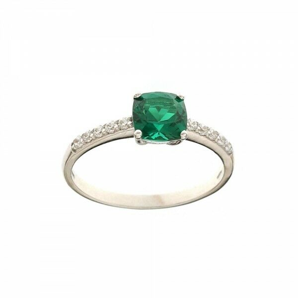 White gold 18k 750 1000 green and white cubic zirconia Solitaire ring