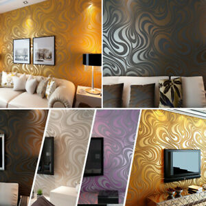 Details About 3d Wallpaper Abstract Line Flocking With Gold Non Woven Modern Wall Panel Decor