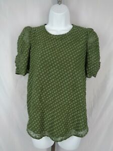 Loft-Blouse-Top-Size-XXS-Textured-Dot-Floral-Olive-Green-Gathered-Sleeves-New
