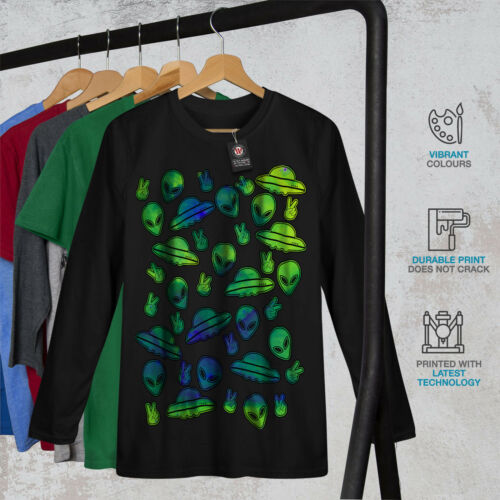 Wellcoda Being Mars Sublime Mens Long Sleeve T-shirt Green Graphic Design