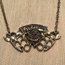 Rock Rebel Love Hurts Banner Rose Brass Knuckles Silver Tone Necklace 16 inch