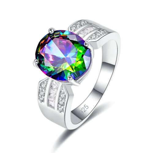 Exquisite Oval Cut Rainbow /& White Topaz Gemstone 925 Silver Ring Size 6 7 8 9