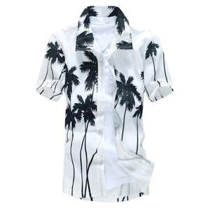 Stylish-Men-039-s-Aloha-Shirt-Cruise-Tropical-Luau-Beach-Hawaiian-Palm-Tree-Fashion