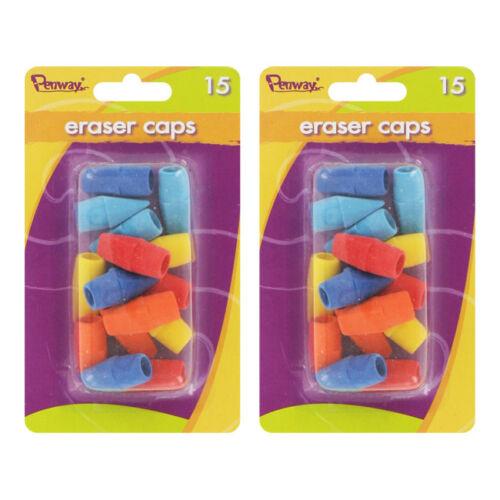 30//Pack Assorted Colors Penway Pencil Eraser Caps