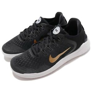 4ed43fc56f76f Nike Wmns Free RN 2018 Run Black Gold Women Running Shoes Sneakers ...
