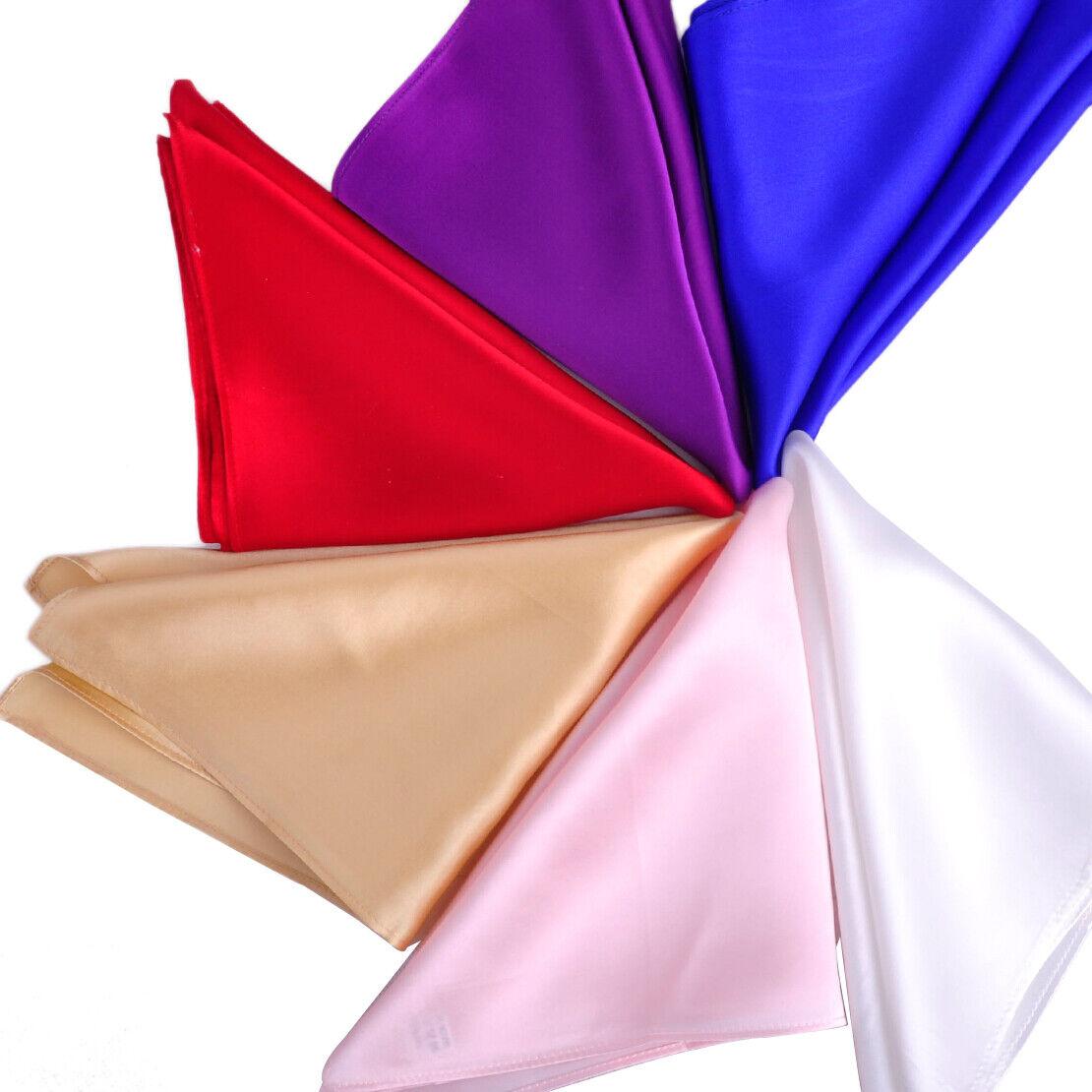 Men Formal Silk Pocket Square Handkerchief Plain Solid Color for Wedding Party