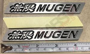 Sliver Aluminum Black Style Mugen Badge Sticker Badge Decal 11cm x 2.5cm 2PCS