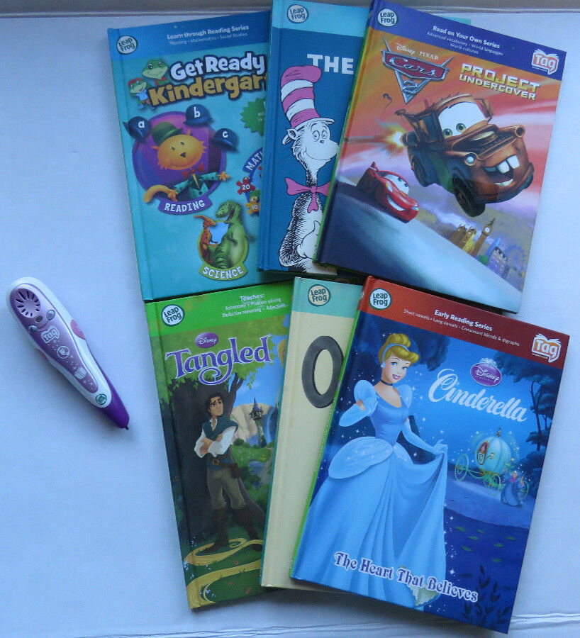 Lot Leap Frog Tag Reader Pen 6 Books Titles USB Connector See Details WORKS  EUC