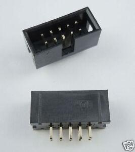 10-Pcs-2-54mm-2x5-Pin-10-Pin-Straight-Male-Shrouded-PCB-Box-header-IDC-Socket