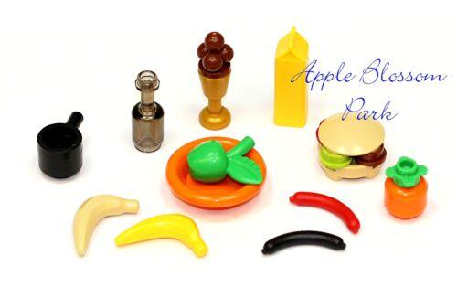 Minifigure Kitchen Milk Apple Hotdog Ice Cream Pan NEW Lego Minifig PICNIC FOOD