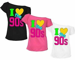 I-Love-The-90-039-s-T-Shirt-Fancy-Dress-Retro-Outfit-Hen-Party-Pop-Star-Top