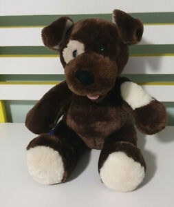 BUILD-A-BEAR-DOG-FUDGE-BROWN-WITH-WHITE-PATCH-ON-EYE-BAB-27CM-SEATED-DOG-TOY