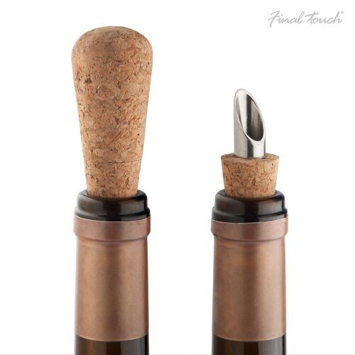 Final Touch Cork Bottle Stopper and Pourer Spout Wine Spirits Sealer Drinks Cap