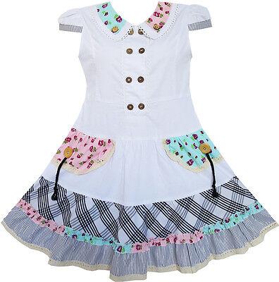 Girls Dress White Cute Colorful Collar Back School Uniform Size 6-14