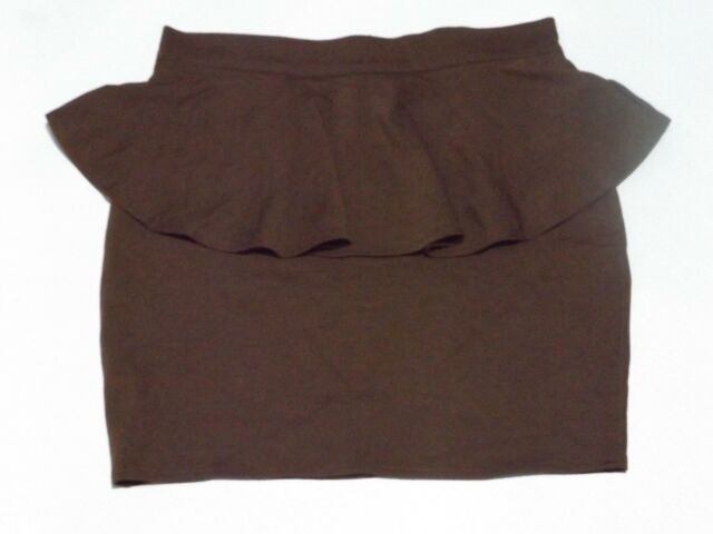 PEPLUM MINI FITTED PEPLUM SKIRT SIZE M BROWN NEW WITH TAGS