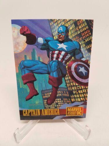 1995 Fleer Skybox MARVEL vs DC Batman//Captain America Avengers Promo Card #2
