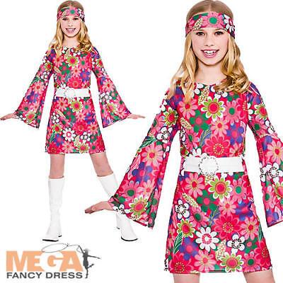 60s 70s Retro Hippy GoGo Girl Fancy Dress Costumes Size 6-24