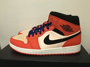 Details about NEW NIKE AIR JORDAN 1 MID 10 SE ORANGE BLACK TEAM CRIMSON  TINT BLUE 852542 800
