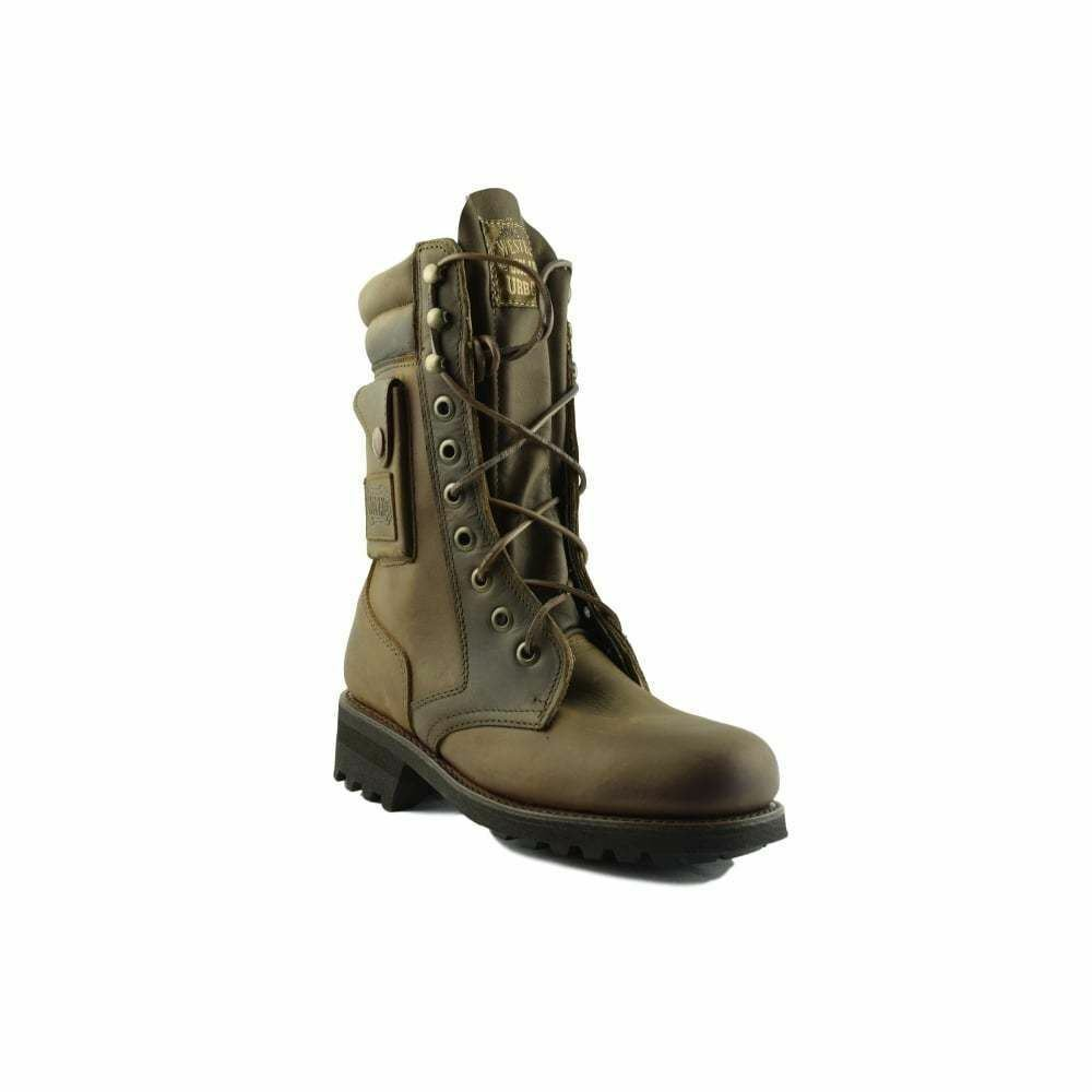 Loblan 2024 Brown Biker Boots Combat Military Lace Up Handmade Boot Side Pocket