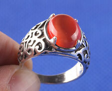 S80 silver ring retro orange stone Fashion Jewelry Size8 F632