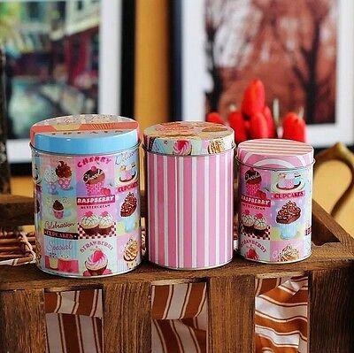 3 PCS Retro Style Pink Cupcakes Kitchen Coffee Tea Sugar Container Jar Tin Metal