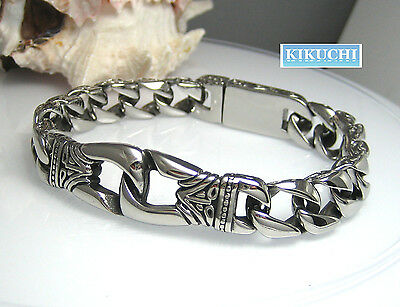 Edelstahl Armband Herren Damen 15mm 59g. 18/20/22cm Armkette Silber Schwarz