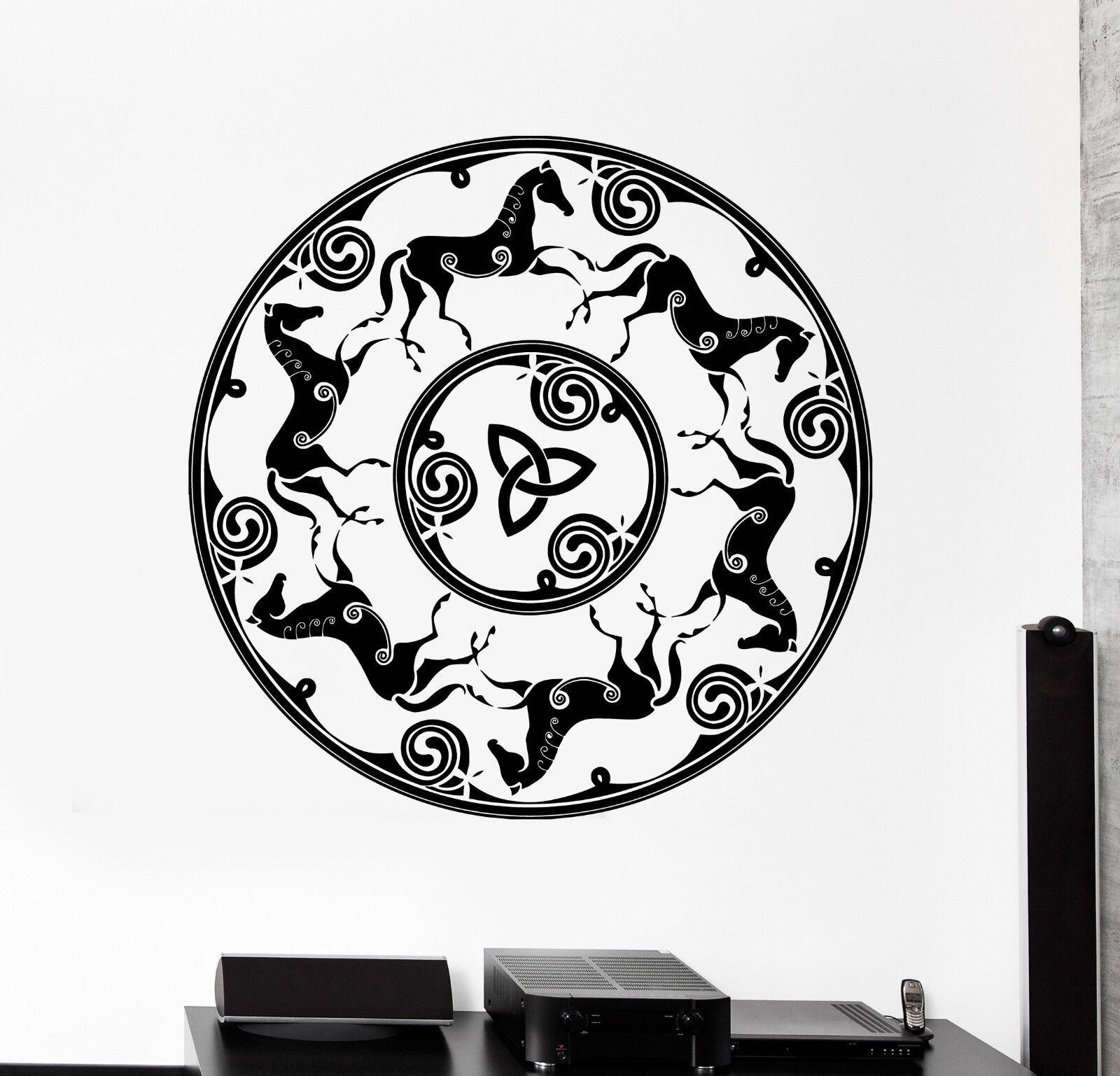 Wand Vinyl Horses Ancient Celtic Symbol Ornament Mural Vinyl Decal (z3342)