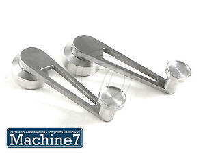 VW Classic Beetle Wood Window Winder Handles Pair Camper T2 Chrome