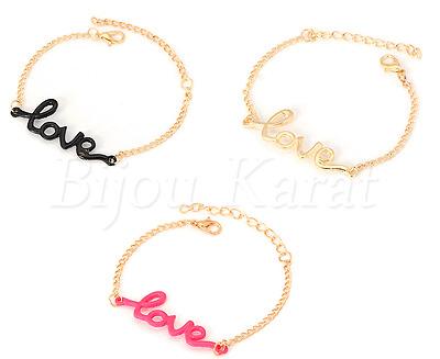 Love Armband Liebe Armschmuck Geschenkidee Gold Pink Schwarz Farben Armkette NEU
