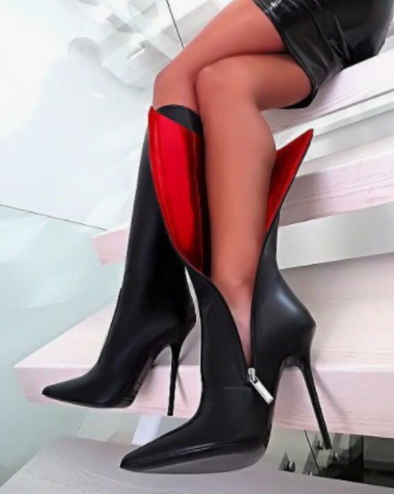 Sexy Para mujeres Europeo Punk Club nocturno Mitad de Pantorrilla botas Altas Calzado de Tacón Alto Talla Reino Unido