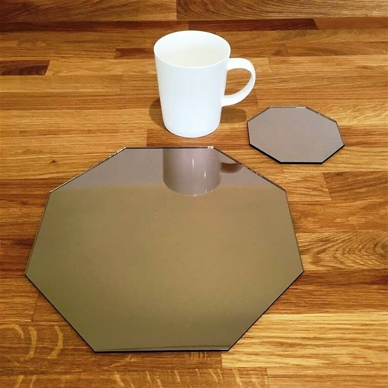 Octagon Shaped Bronze Mirror Acrylic Placemats & Coasters 4, 6 or 8, 23.5cm 9.5