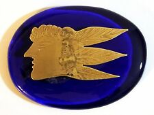 GREEK PAINTER ALEKOS FASSIANOS FEMALE HEAD BRONZE ENGRAVED ON GLASS PAPER WEIGHT