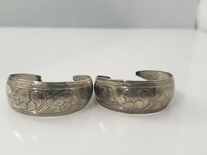 Vintage Silver Tone Engraved Etched Hoop Earrings Pierced Posts Swirl Design