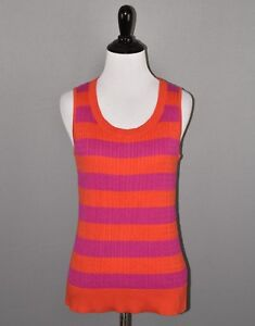Talbots-Women-039-s-Orange-Purple-Striped-Sleeveless-Cable-Knit-Sweater-Small