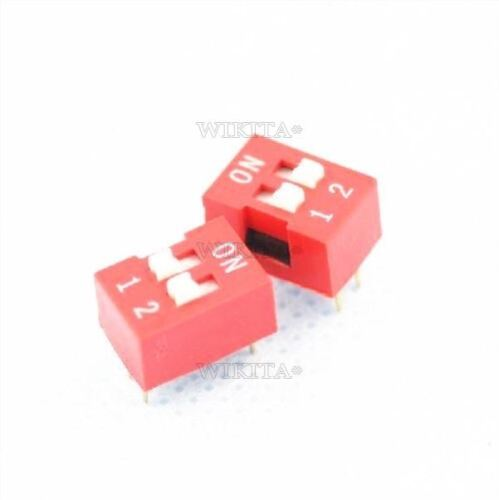 50Pcs Switch J10 Dip 2-Bit 2 Positions Ways Slide Type Red 2.54MM Pitch Ic Ne pi
