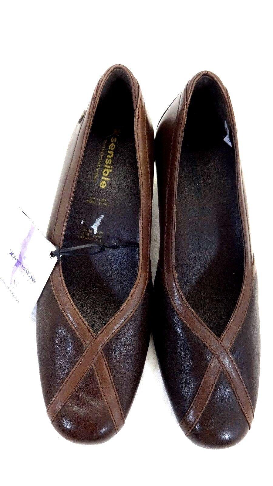 Neuf avec Étiquettes Sensible femmes Brun Cuir Talon Pompes Chaussures Taille
