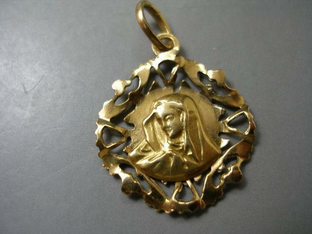 EXQUISITE 18 KARAT .750 SOLID YELLOW gold MOTHER MARY CATHOLIC PENDANT CHARM