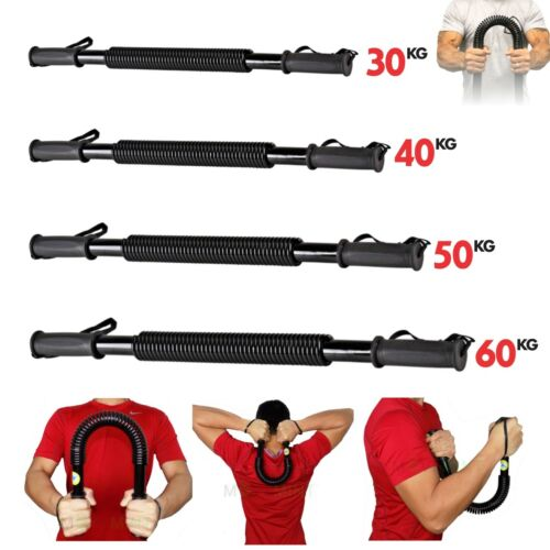 New Arm Power Twister Flexible Stretch Spring Bendy Bar Gym Black 30 40 50 60Kg