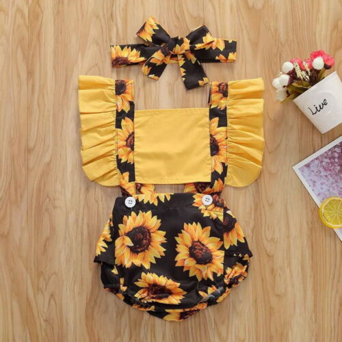 Newborn Baby Girl Floral Romper Jumpsuit Bodysuit Headband Outfits Clothes Set