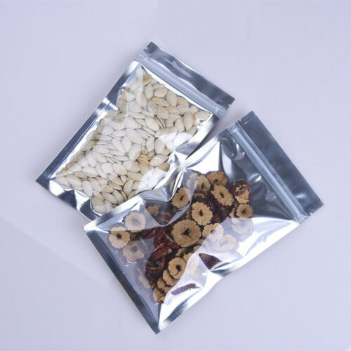 Clear//Silver Metallic Aluminum Foil Mylar Zip Lock Bags Pouch in Different Sizes