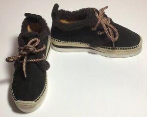NWOB-See-by-Chloe-250-Espadrille-Wedge-Platform-Sneaker-Black-Suede-Sz-35