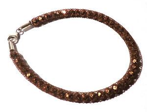 Armband 19,3 cm Edelstahl Schmuckdraht Geflecht Kupferfarben Glitzer Perlen Neu