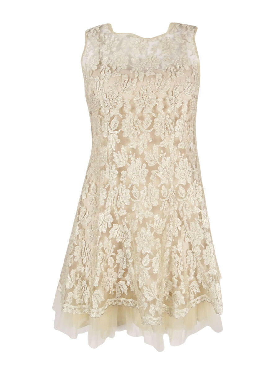 Betsy & Adam Women's Lace Sleeveless Dress 2, Beige